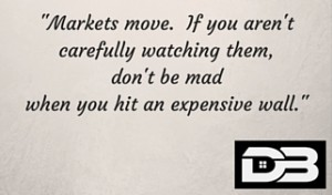 -Markets move. If you aren't carefully watching them, don't be mad when you hit an expensive wall.-